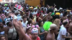 Big Crowd Of People Dancing In Rio de Janeiro s Street Carnival - stock footage