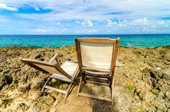 Caribbean Beach Chairs - stock photo