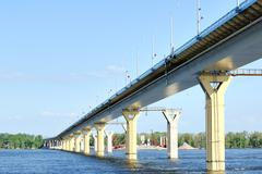 Bridge on the river volga, russia Stock Photos