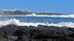 Ocean waves on lava rocks in Hawaii FULL HD Stock Footage