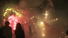 Torito shoots out fireworks into the crowd shot on the point of view of a by Stock Footage