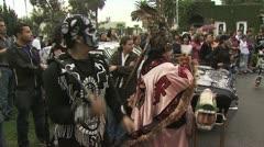 Aztec drummer hitting a drum - stock footage