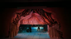 Theater curtain hide stage with actors Stock Footage