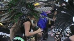 Aztec dancers performing dancing ritual 2 - stock footage