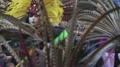 Aztec dancers performing dancing ritual 4 - stock footage