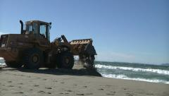 Wheel Loader Beach Coastal Erosion Storm Prevention Waves Wind Tide Stock Footage