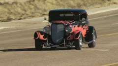 Classic Car, Black With Red Flames 2 Stock Footage