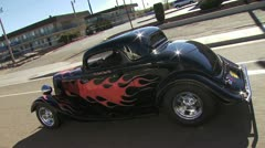 Classic Car, Black With Red Flames 3 Stock Footage