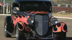 Classic Car, Black With Red Flames 4 - stock footage