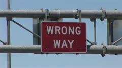 "Close Up Of ""Wrong Way"" Sign Stock Footage"