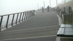 Two Joggers In The Mist Stock Footage