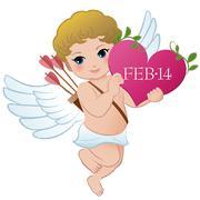 Cupid holding Valentine's heart - stock illustration