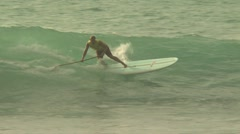 Surfer Using An Oar - stock footage