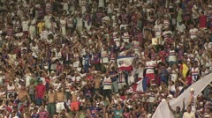 Brazilian Soccer Fans Waving - stock footage
