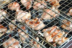 Barbecue. meat fried in a lattice on coals. Stock Photos