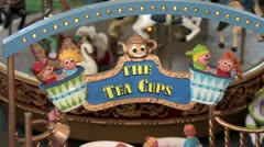 720p HO Scale Amusement Park Ride The Tea Cups Stock Footage