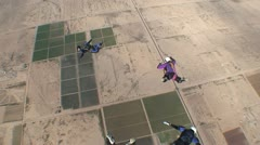 Four Skydivers in Mid Air Stock Footage
