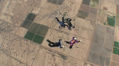 Aerial View Of Skydivers Doing Formations Stock Footage
