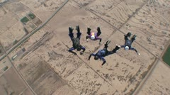 Aerial View Of Skydivers Doing Formations 2 Stock Footage