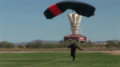 Skydiver Right After Landing Stock Footage
