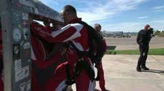 Skydivers Practice A Tandem Jump 3 Stock Footage