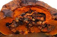 Pumpkin baked with fruit. Stock Photos