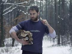 Lumberjack with chopped wood walking in forest, slow motion, shot at 240fps Stock Footage