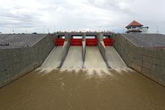 water gate dam - stock photo