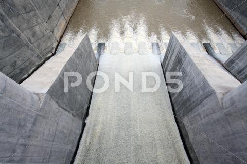Stock photo of water from gate dam
