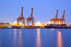 shipping terminal port - stock photo