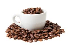 espresso cup with coffee beans - stock photo