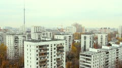 Panorama of Moscow. Ostankino. Aerial view - stock footage