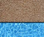 Stock Photo of red sand stone pavement with pool background