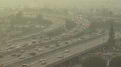 Smoggy View of Rush Hour Traffic Stock Footage
