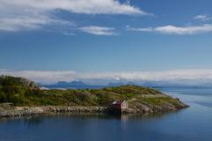 fishing hut on lofoten - stock photo