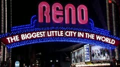 1440 Biggest Little City in the World Reno Nevada Neon Sign Stock Footage