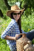 beautiful brunette cowgirl - stock photo