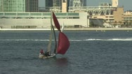 A pair of sailors in a small, two person boat Stock Footage