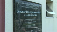 Sign Identifying A Laboratory in Brazil Stock Footage
