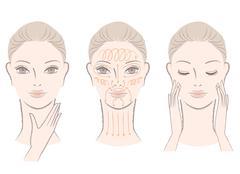 elegant woman massaging her face and neck - stock illustration