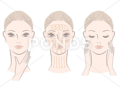 Stock Illustration of elegant woman massaging her face and neck