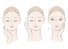 fresh cute woman applying facial lotion on the face - stock illustration