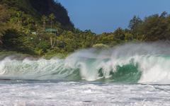 Big Wave at Tunnels Beach at Kauai - stock photo