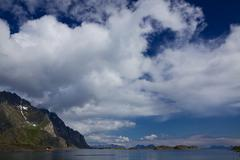clouds above lofoten - stock photo