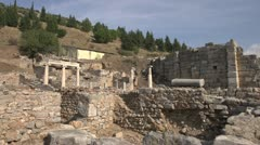 History & culture, Ephesus ruins, court yard and walls, wide shot Stock Footage