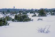 Church in winterlandscape Stock Photos