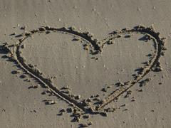 heart in the sand - stock photo