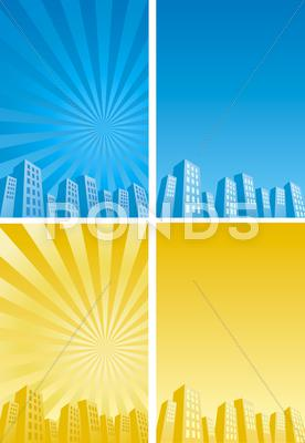 Stock Illustration of sunbeam skyscrapers silhouette background