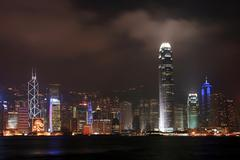 hong kong skyline and skyscraper in business district at dusk - stock photo