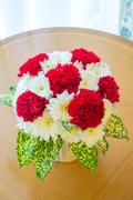 red carnation bouquet - stock photo